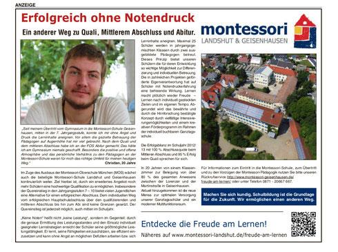 Anzeige in der Landshuter Zeitung vom 31.07.2013