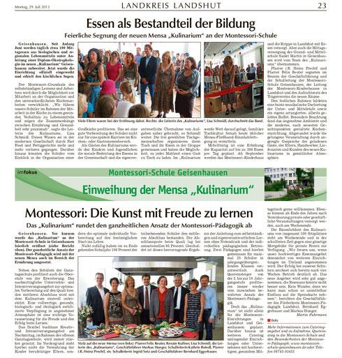 Artikel zur Eröffnung und Segnung des Kulinarium in der Landshuter Zeitung vom 29.07.13