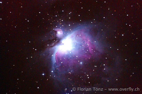 Orionnebel (M42) | Belichtungszeit: 102s | ISO 3200 | Vals, Zervreila | 2. Januar 2014 00:43