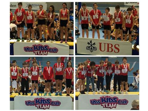 oben: 1. Rang Mixed U14, 2. Rang Knaben U14, unten: 1. Rang Mixed U12, 1. Rang Knaben U10