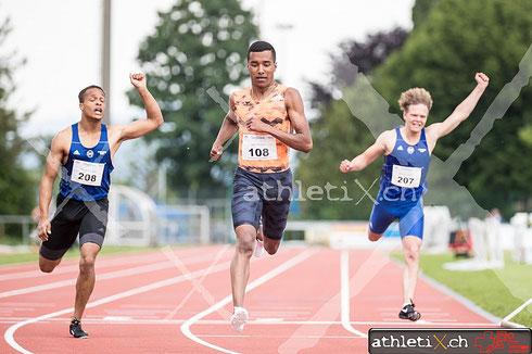 Reais William (BTV Chur Leichtathletik, SUI, #108) gewinnt das 200 m Rennen