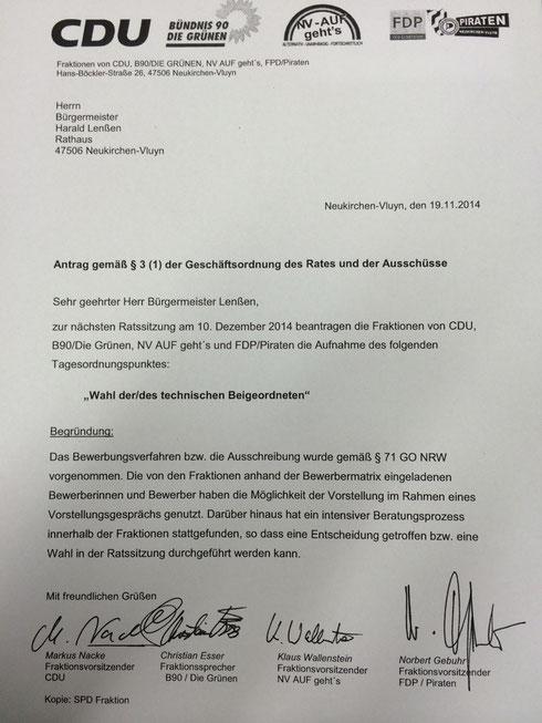 Betreff: Wahl der/des technischen Beigeordneten. Gemeinsamer Antrag von Bündnis90/ Die Grünen, NV AUF geht´s,  FDP/Piraten und CDU zur nächsten Ratssitzung am 10. Dezember 2014