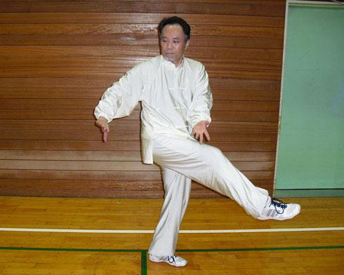 程廷華派八卦掌の白猿献果の蹴法の写真です。