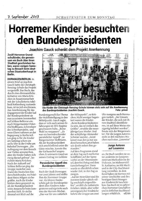 Schüler der Christoph-Rensing-Schule zu Besuch beim Bürgerfest des Bundespräsidenten in Berllin