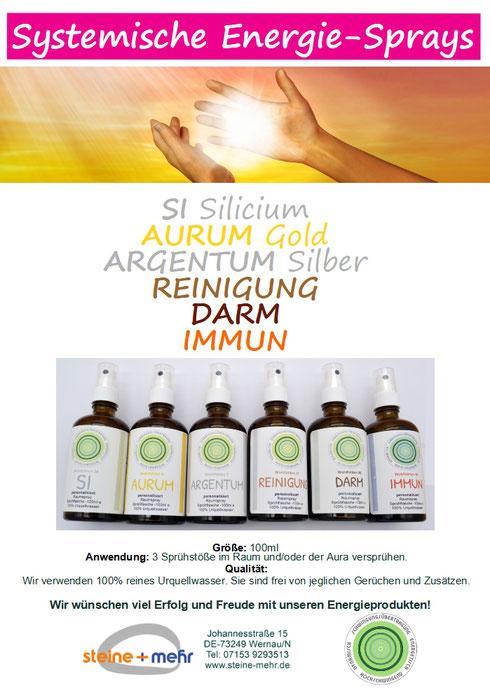 Systemische Energie-Sprays AURUM, ARGENTUM, REINIGUNG, IMMUN