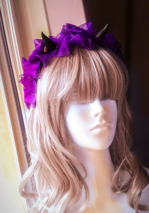 Black Horned Headband with Purple Roses