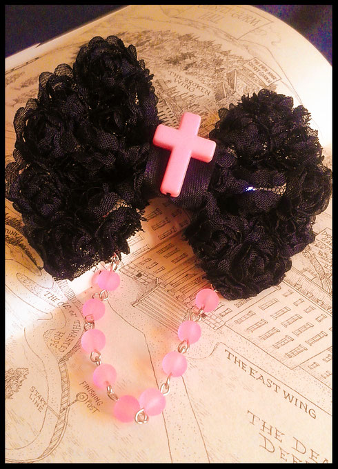 Black & Pastel Pink Beaded Bow with Cross