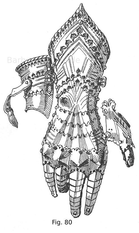 Fig. 80. Rechter Handschuh mit messingenen Randeinfassungen und Knöchelwülsten, gekehlt und mit ausgezackten Folgen. Der Daumen ist an dem Scharnier hängend. Von einem Harnisch des Erzherzogs Sigmund von Tirol. Deutsche Arbeit um 1480.