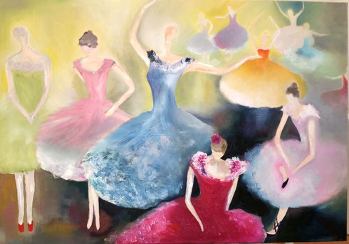 Ballerinas 2015  Öl auf Leinwand 70 x 100 cm