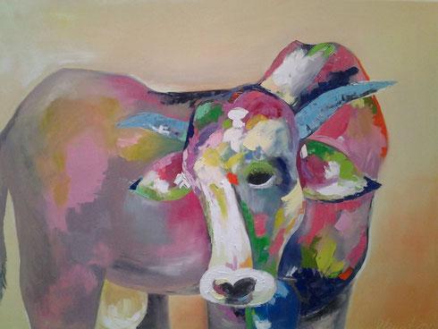 die bunte Kuh 2013 Öl auf Leinwand 70x100 cm