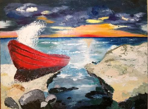 rotes Boot 2015 Öl auf Leinwand 100 x 140 cm