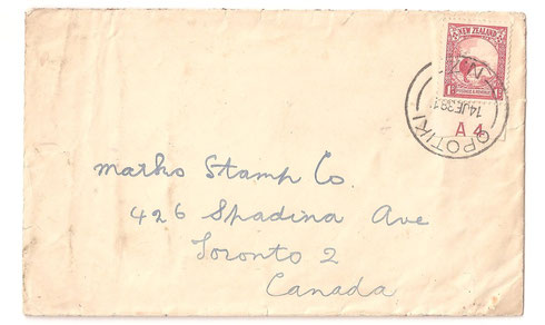 Cover to Canada, with plate A4 marking