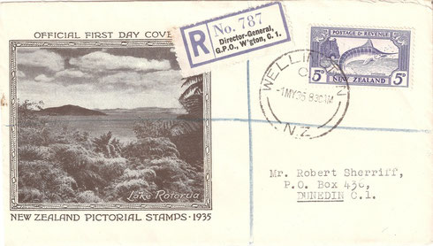 '5d. First day cover,registered.'