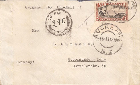 3/- Cover to Germany 8-9-1938. Rare plate 1 selvage on single Li4d. Cover taxed at double deficent postage.