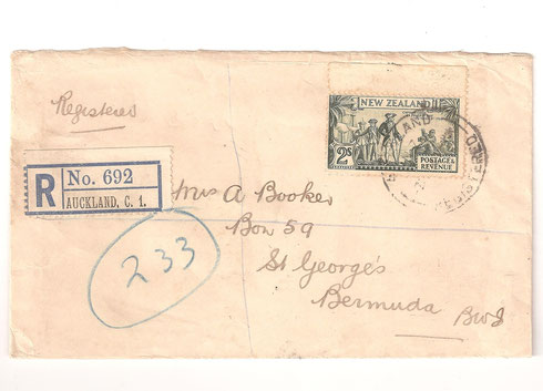 1944 Registered cover to Bermuda with top selvedge,and showing'COQK flaw' P.12 1/2. (see detail below)