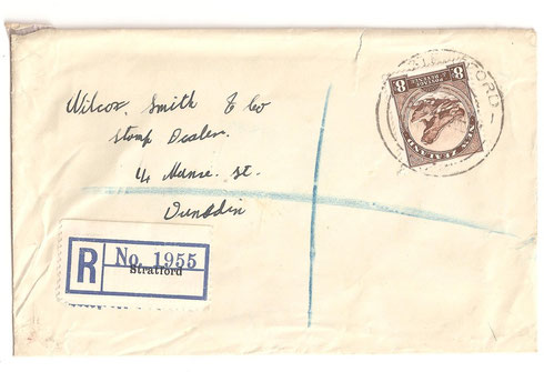 Single 8d used from Stratford to Dunedin Registered 16/10/1940