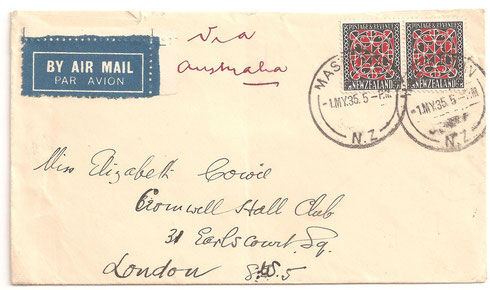 Non philatelic cover to UK via Australia from Marton. On first day issue.