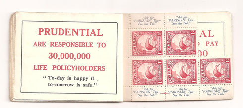 Used booklet with five remaining stamps.