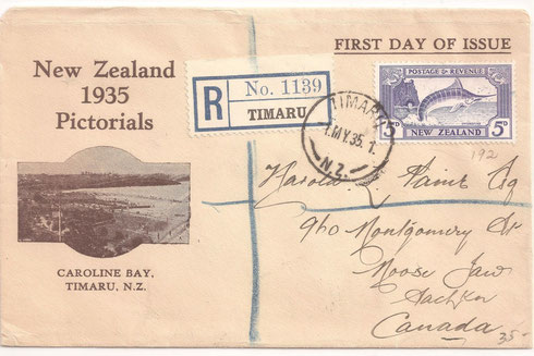 '5d. First day cover, on privately produced FDC, to Canada.