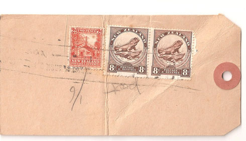 Pair of 8d, on druggists parcel tag,Christchurch to Wellington.