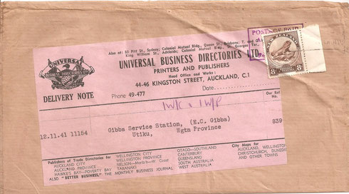 8d Single used on Complete parcel piece.12/11/1941, Auckland to Utiku