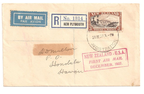 3/- on airmail cover to Hawaii from New Plymouth, Registered 28-12-1937
