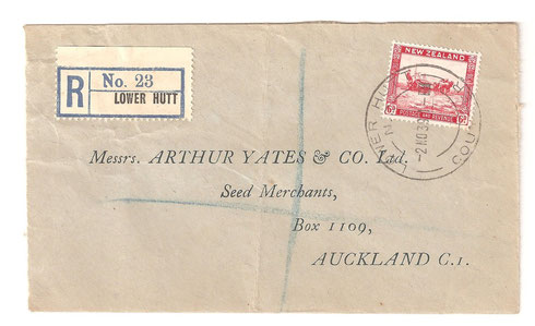 Registered 6d cover, Lower Hutt to Auckland