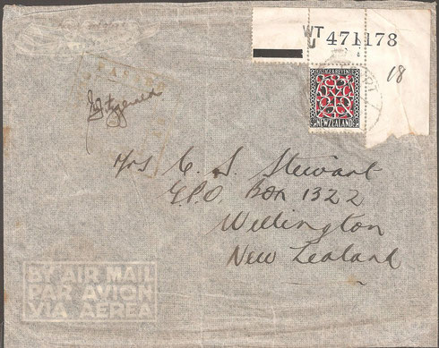 L11d. WWII censored OAS cover  Egypt to NZ ,rare use of serial numbers on selvage, on cover.
