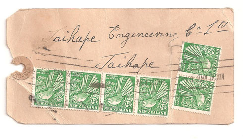 Mail tag, Auckland to Taihape.