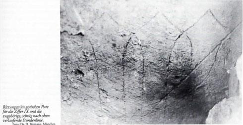Rekonstruktion der ältesten Sonnenuhr Münchens am Uhrenturm des Schlosses Blutenburg: anhand des Fragmentes und freigelegter Ritzungen: Dr. Birmann 1985