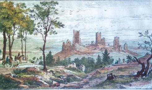 """eau-forte aquarellée, Helmdorf, 1824 """"les Trois Châteaux d'Eguisheim avec des chasseurs"""""""