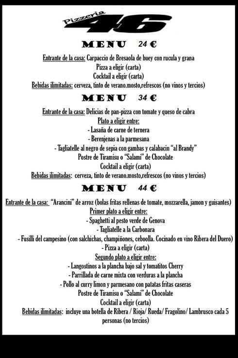 Menus restaurante 46 para despedidas de soltero y soltera en Almeria Centro