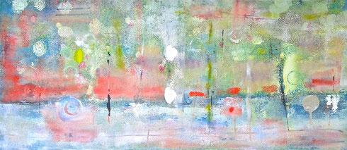 """""""un mondo riemerso"""", 2014 tecnica mista su tela 43 x 93 cm"""
