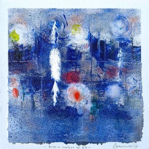 """bianco emerso nel blu"", 2014 tecnica mista su tela, 30 x 30 cm"