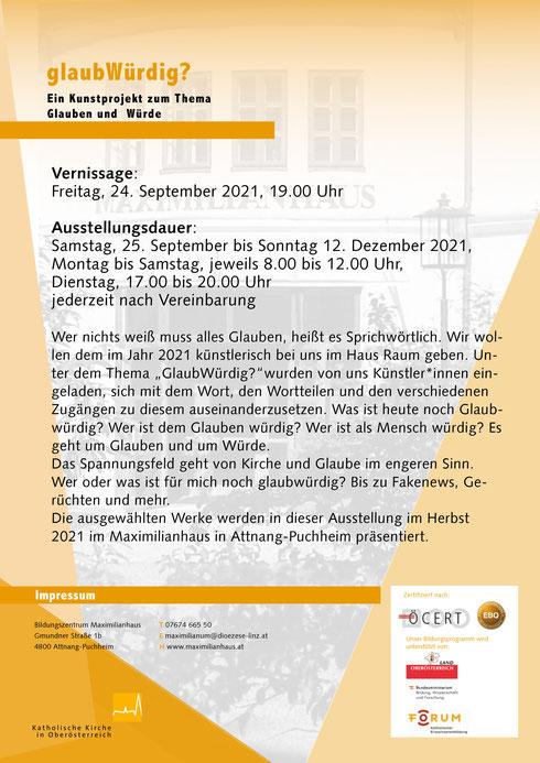 """""""glaubWürdig""""Ausstellung MAXIMILILIANUM Konrad Wallmeier"""