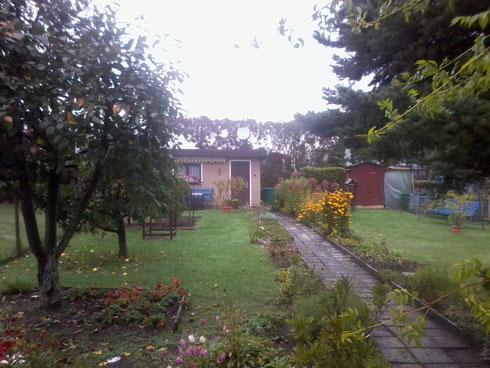 grosser Garten mit kleiner Laube