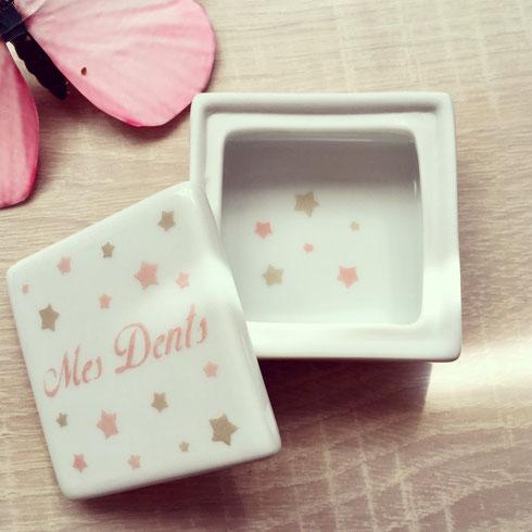 Boîte à dent de lait enfant étoiles  en porcelaine personnalisable