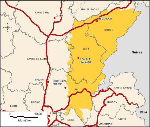 Zone de l'AOC Comté (Source : http://www.inao.gouv.fr)