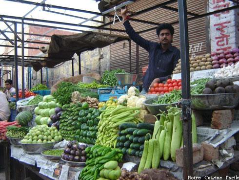 Etal de légumes au Rajasthan