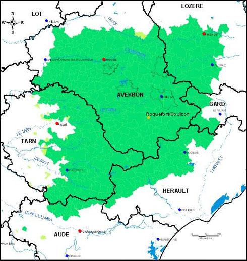Zone de l'AOP Roquefort (Source : http://www.inao.gouv.fr)
