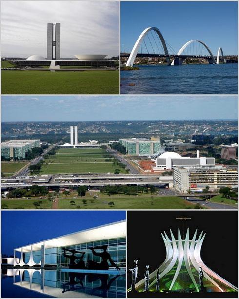 La ville de Brasilia (capitale), dont l'architecte a notamment été Oscar Niemeyer