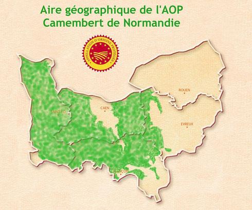 Zone de l'AOP Camembert (Source : http://www.fromage-normandie.com)