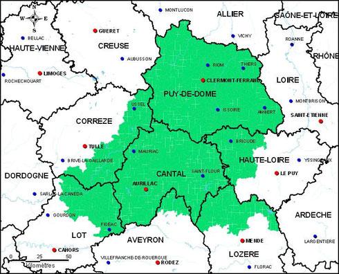 Zone de l'AOC Bleu d'Auvergne (source : http://www.inao.gouv.fr)