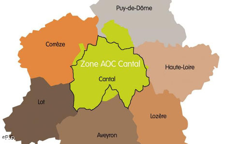 Zone de l'AOP Cantal (source : http://www.lunion-cantal.com )