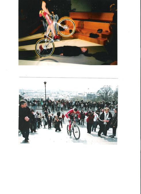 En haut chez Laurent RUQUIER avec Franck DUBOSC. En bas, ascension de la butte de Montmartre pour une bonne cause.