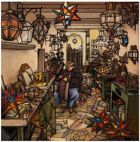 切り絵師 俊寛 星型ランプ職人の工房にて 「キラキラ星の誕生」700×700mm