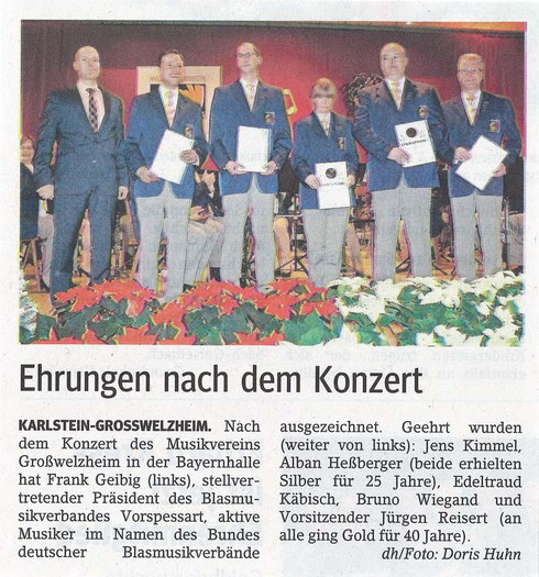 Ehrungen beim Jahreskonzert 2014, Main-Echo v. 12.12.2014