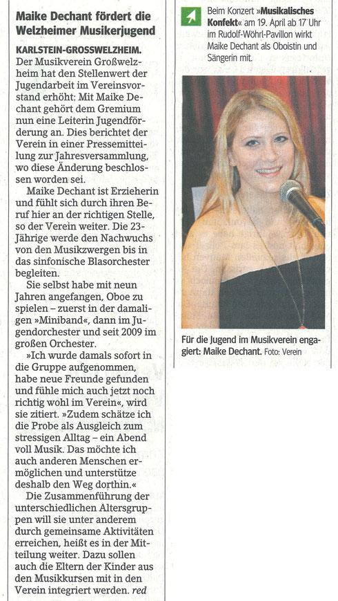 Bericht über die neue Bereichsleiterin Jugendförderung, Main-Echo v. 08.04.2015