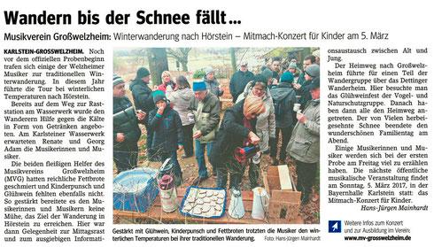 Winterwanderung 2017, Unser Echo v. 13.01.2017