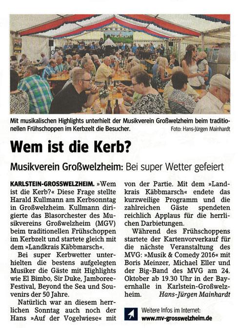 Welzemer Kerb 2016, Unser Echo v. 16.09.2016
